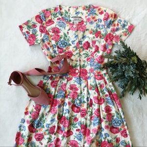 Vintage Talbots Floral Button Down Midi Dress